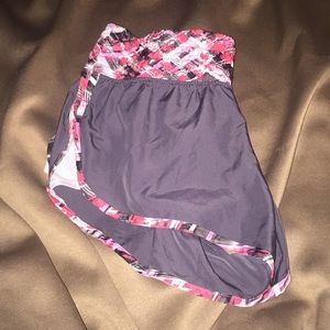 Gray athletic track shorts